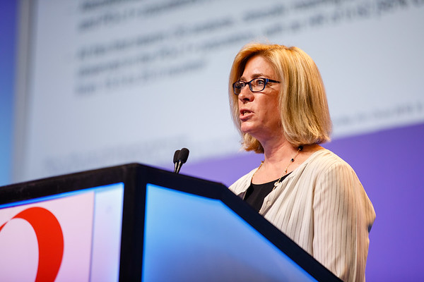 Leisha Emens speaks during General Session 1