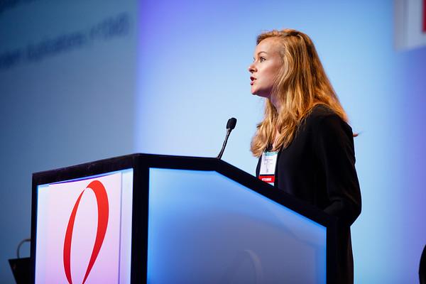 Lindsay Angus, MD, MSc, speaks during General Session 1