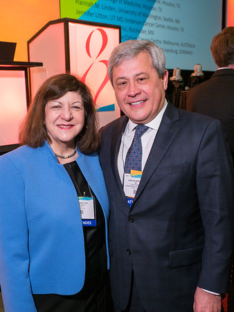 AACR CEO Margaret Foti and Carlo during the opening session