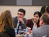 Attendees chat during the Career Development Forum