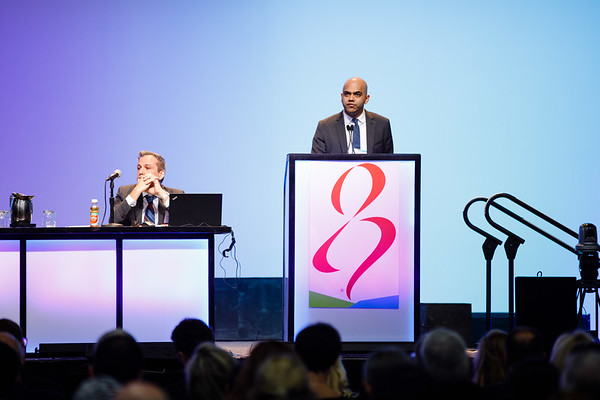 Nikhil Wagle, MD, speaks during General Session 1