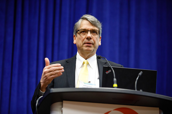 Charles E. Geyer, Jr., MD, speaks during the morning press briefing