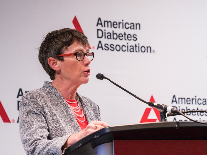 "Jane Reusch, MD, ADA President of Medicine & Science, speaks during Press Conference: ""Gender Gaps in Research and Care"""