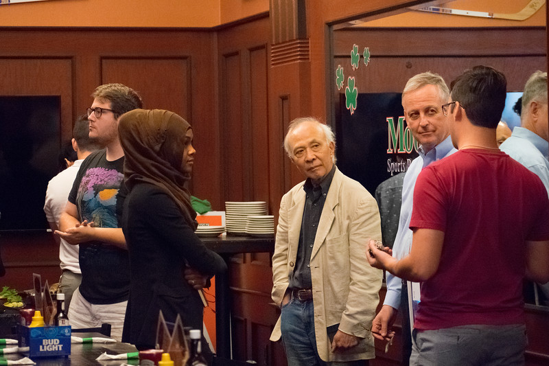 Professors Hiro Hata and Mark Foerster field questions after tour