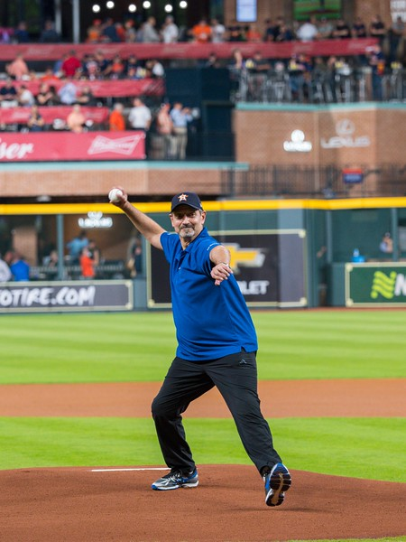 Wafik Beydoun throws out the first pitch for the Astro's during Night at the Ballpark