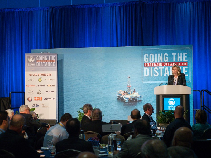Cindy Taylor, CEO and President  Oil States, speaks during OTC 50th Legacy Luncheon