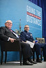 Rear Admiral, United States Coast Guard, John Nadeau, right, and Executive Director, Center For Offshore Safety, Charles Williams, on stage during Topical Luncheon: Center for Offshore Safety: Perspectives Regarding Safety, Safety Management,