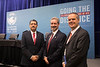 From left to right, Director of Prospective Resources, Reserves, and Associations, Pemex E&P Ulises Hernandez, OTC Chariman of the Board of Directors, Wafik Bedoun, and Global Director, Well Control Technology, Weatherford International Ltd. Robert Ziegler pose for a portrait during Topical Breakfast: The New PEMEX Post Energy Reform: Realizing Opportunities and Managing Risk in the Mexican Petroleum Industry