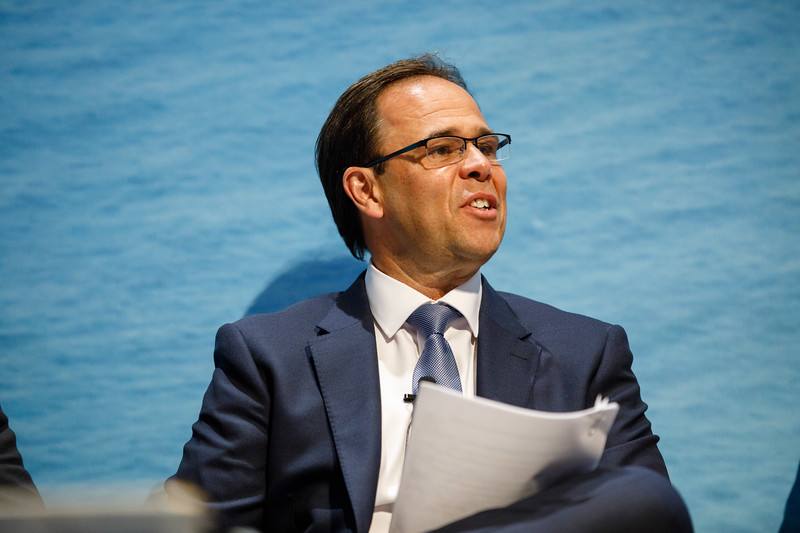 Luis Araujo, CEO of Aker Solutions, speaks during Afternoon Technical Session: CEO Panel: Integrated Offshore Activities, Mega Mergers, and Alliances: A Competitive Integration