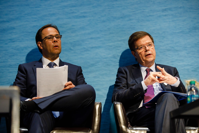 Jean Cahuzac, CEO of Subsea 7, speaks during Afternoon Technical Session: CEO Panel: Integrated Offshore Activities, Mega Mergers, and Alliances: A Competitive Integration
