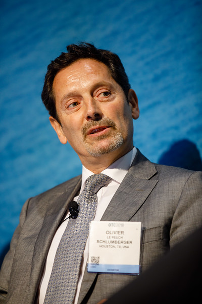 Olivier Le Peuch, President of Cameron Group at Schlumberger, speaks during Afternoon Technical Session: CEO Panel: Integrated Offshore Activities, Mega Mergers, and Alliances: A Competitive Integration