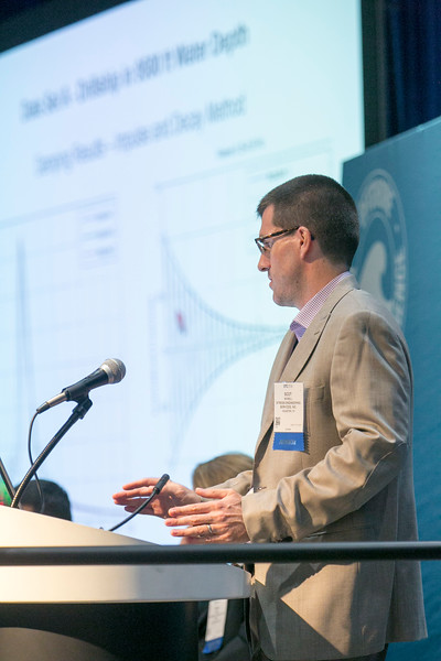 Scott McNeill, from Stress Engineering Services, speaks during Afternoon Technical Session: Risers and Pipelines