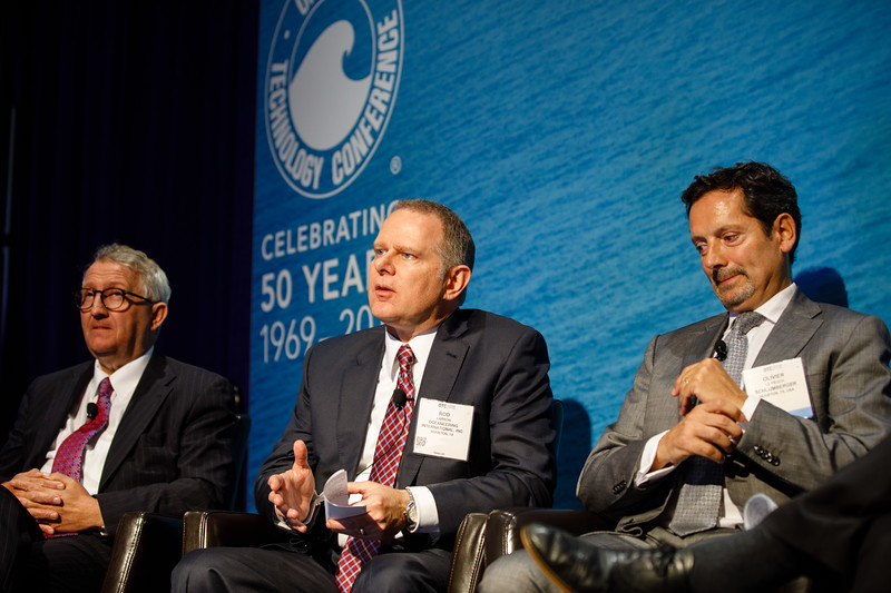 Rod Larson, CEO of Oceaneering International, Inc., speaks during Afternoon Technical Session: CEO Panel: Integrated Offshore Activities, Mega Mergers, and Alliances: A Competitive Integration