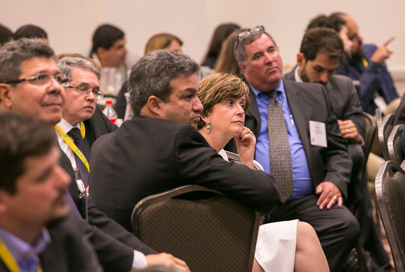 Solange Guedes, Chief Exploration & Production officer at Petrobras and attendees during during Topical Luncheon: E&P Strategy to Succeed at Low Oil Price