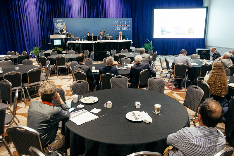 Gary Isaksen speaks during Topical Breakfast: Ocean Sound and Marine Animals: Advancing the Geophysical Industry in a Complex Regulatory Environment