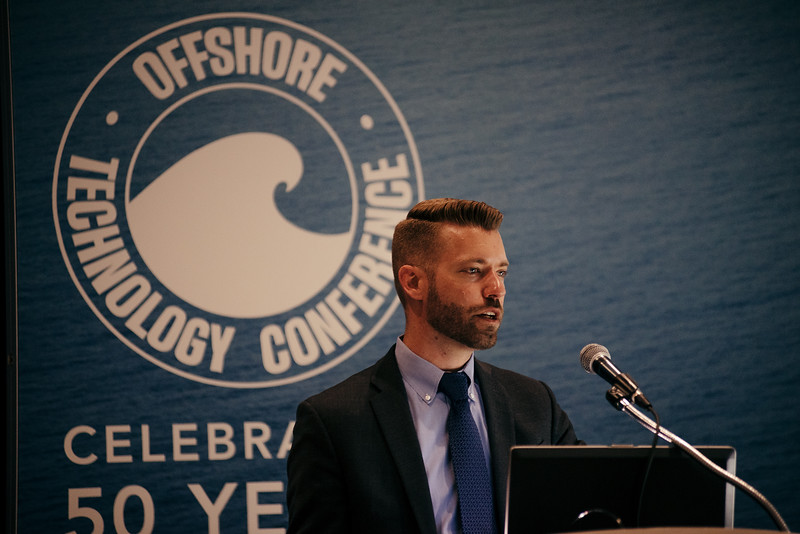 Dustin Van Liew speaks during Topical Breakfast: Ocean Sound and Marine Animals: Advancing the Geophysical Industry in a Complex Regulatory Environment