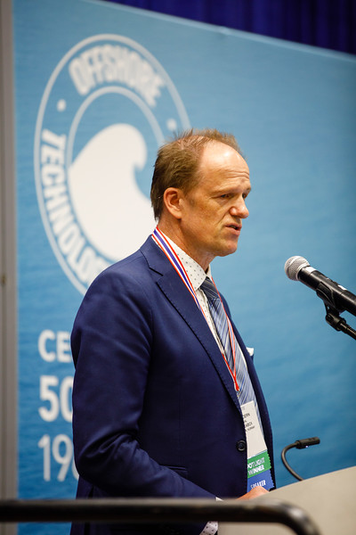 Torbjørn Hegdal speaks during Topical Luncheon: Where to Take Subsea Processing in the Current Market: Brown Field or Green Field? An Industry Perspective