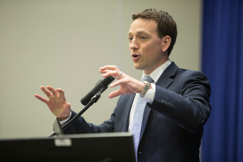 KTRK-TV Meterologist Travis Herzog speaks during Industry Breakfast: OTC Energy Challenge