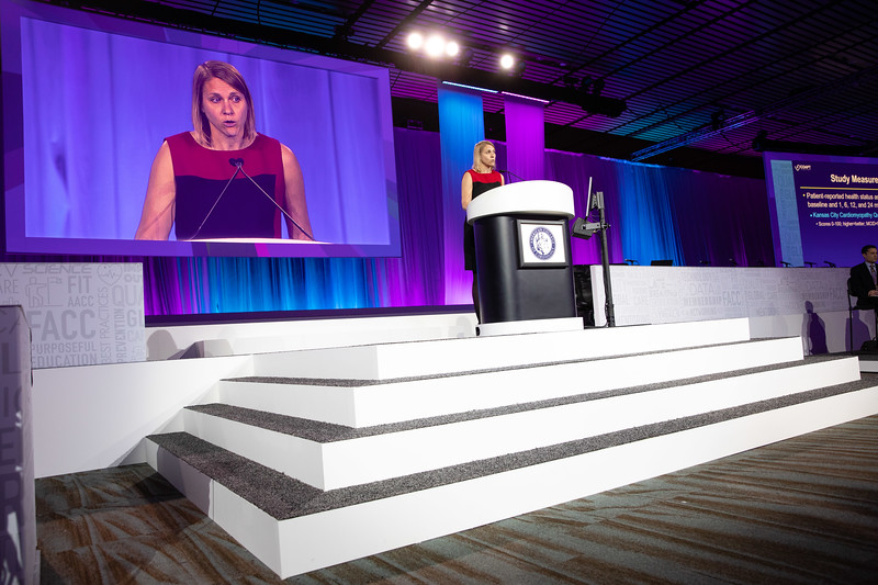 Suzanne Arnold speaks during Late-Breaking Clinical Trials (LBCT) II