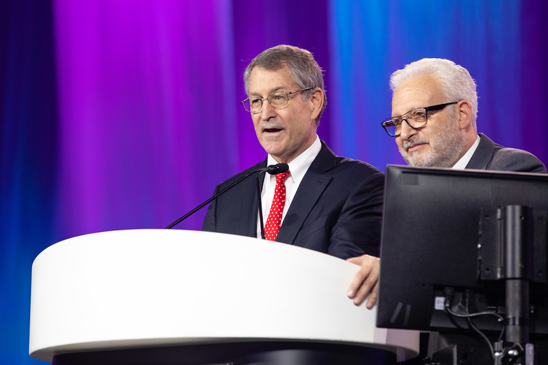 Michael Reardon and Martin Leon speak during Late-Breaking Clinical Trials (LBCT) II