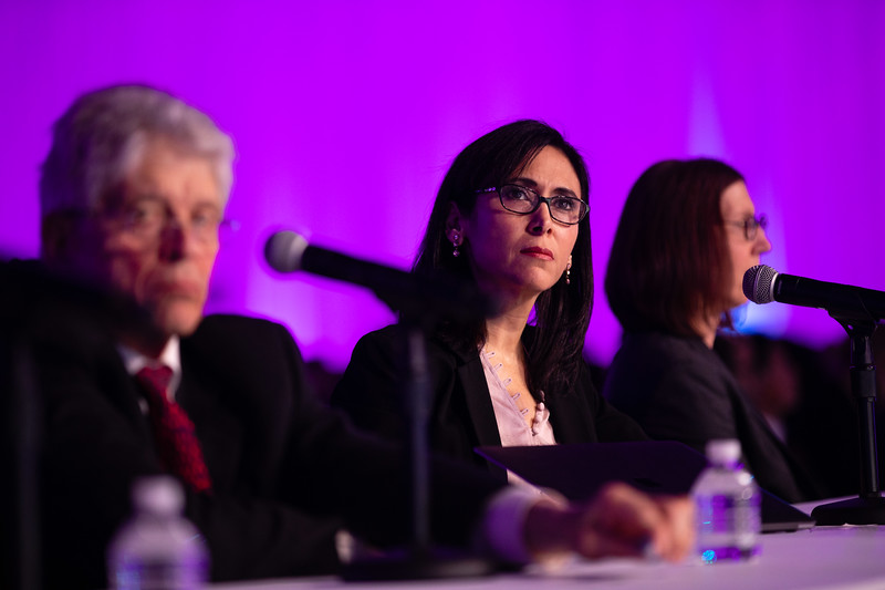 Speakers and attendees during Late-Breaking Clinical Trials (LBCT) II