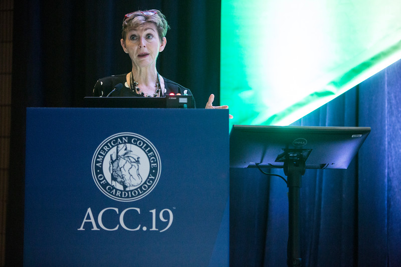 Sharonne Hayes presents during Addressing Barriers to Women Entering and Advancing in Cardiology Session