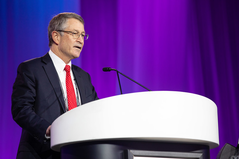 Michael Reardon speaks during Late-Breaking Clinical Trials (LBCT) II