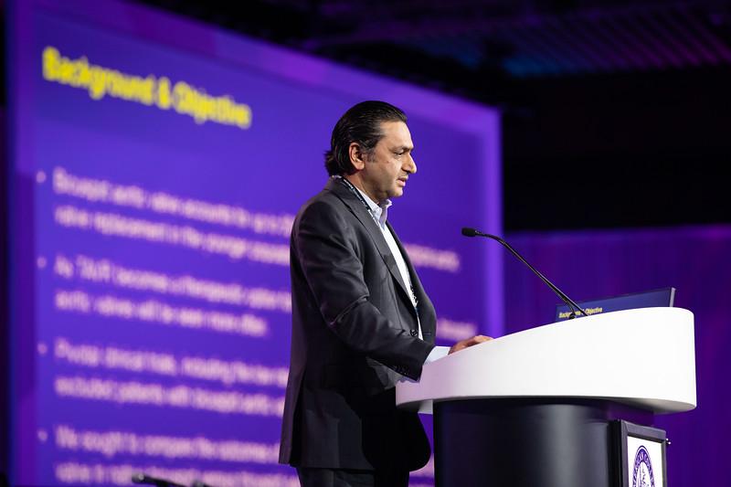 Raj Makkar speaks during Late-Breaking Clinical Trials (LBCT) II