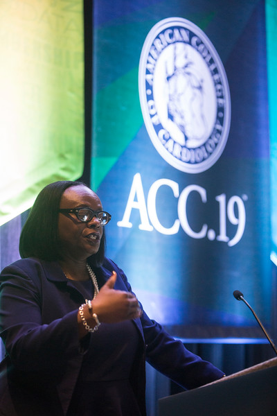 Michelle Albert, presents during Addressing Barriers to Women Entering and Advancing in Cardiology Session