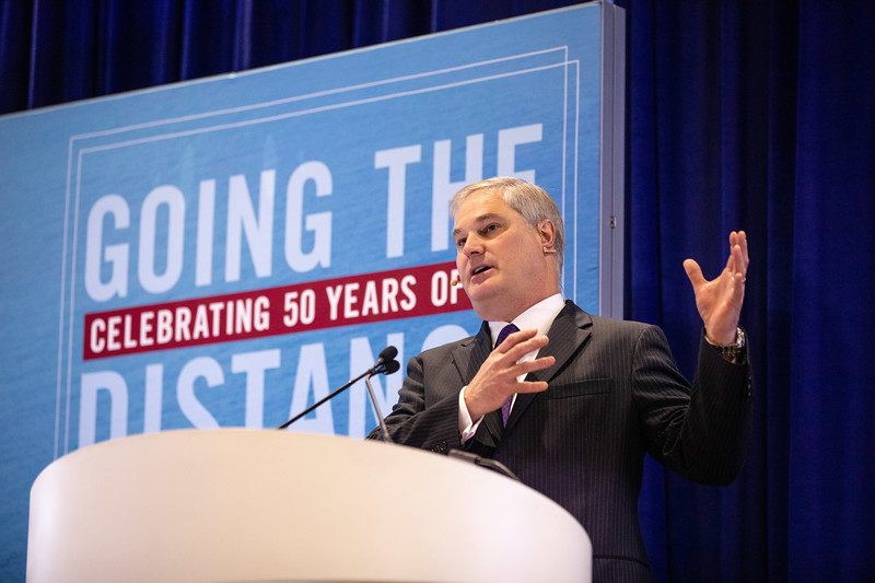 Doug Pferdehirt speaks during OTC's Golden Anniversary Opening Session: The Next 50 Years of Offshore Developments