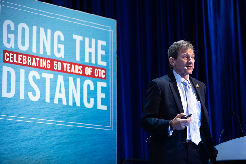 Scott Tinker speaks during OTC's Golden Anniversary Opening Session: The Next 50 Years of Offshore Developments