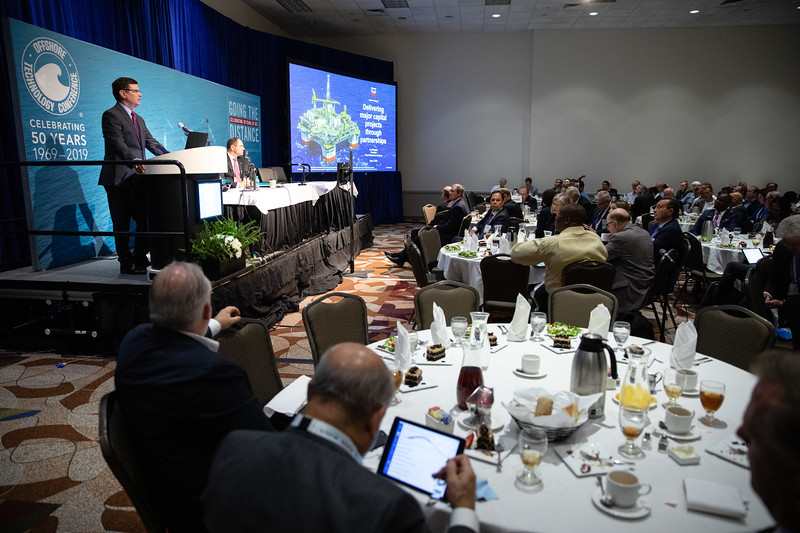 Joe Gregory speaks during Topical Luncheon: Delivering Chevron Major Capital Projects Through Partnerships