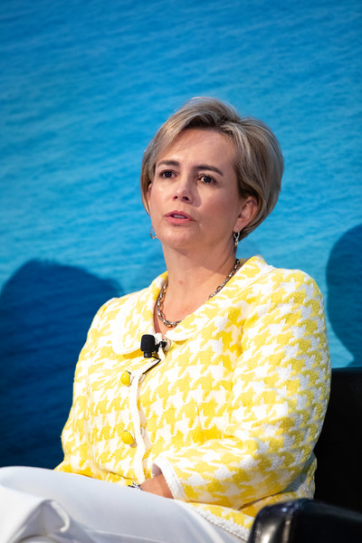 Maria Claudia Borras of Baker Hughes speaks during OTC's Golden Anniversary Opening Session: The Next 50 Years of Offshore Developments