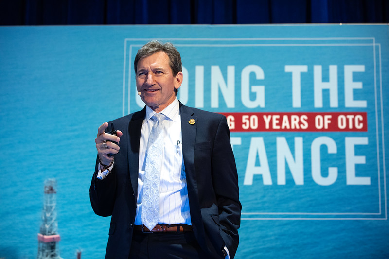 Scott Tinker speaks during OTC's Golden Anniversary Opening Session: The Next 50 Years of Offshore Developments