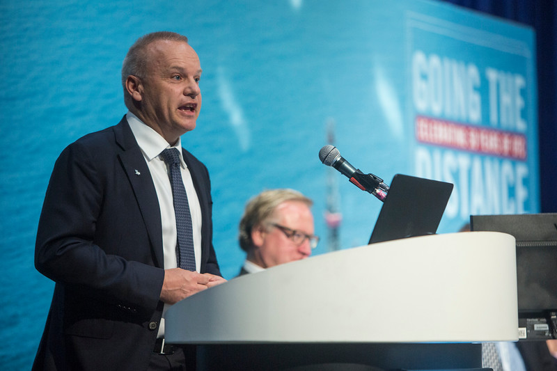 Executive Vice President, Technology, Projects and Drilling, Equinor, Anders Opedal, speaks during Topical Luncheon: The Norwegian Continental Shelf: Smarter, Cleaner, and Better Connected