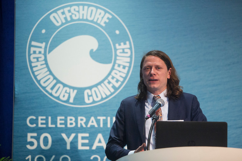 Jonathan Colby presents during Technical Sessions: Advances in Offshore Marine and Hydrokinetic Energy