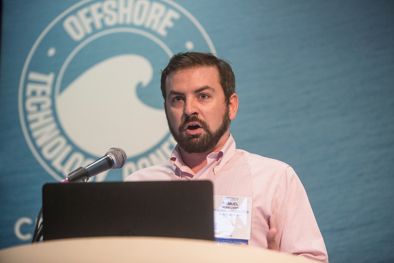 Samuel McWiliams presents during Technical Sessions: Advances in Offshore Marine and Hydrokinetic Energy