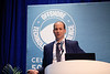 Christophe Vielliard speaks during Morning Panel and Technical Sessions: Active Arena: Flow Assurance Engineering and Project Learning