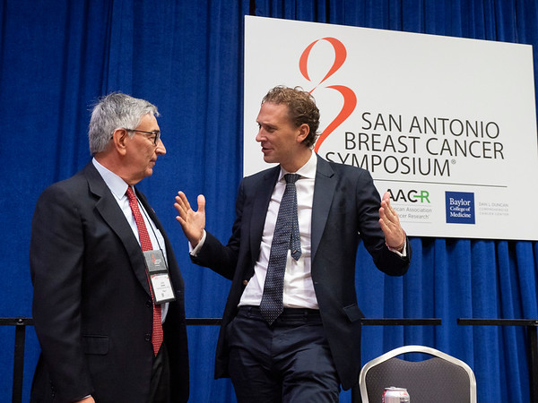 Luca Gianni, MD, left, and Peter Schmid, MD, PhD, right discusses their studies during the Thursday morning Press Conference