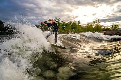 Sunrise surf at the Boise Whitewater Park