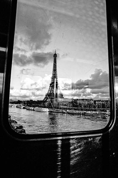 Eiffel Tower Through Metro Window BW
