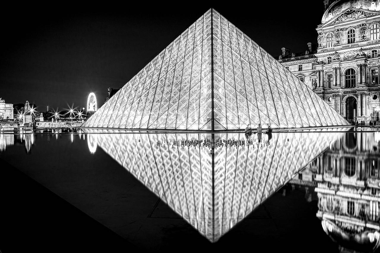 Louvre Pyramid BW