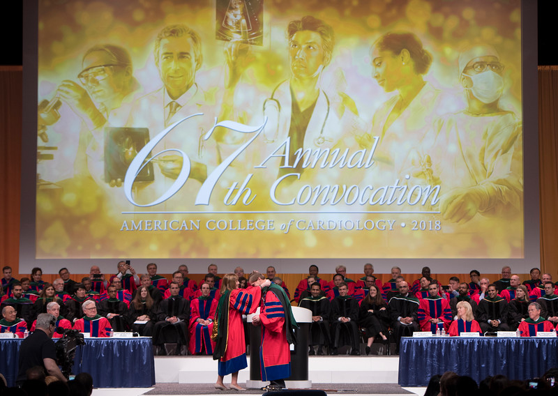 Dr. Mary Walsh, MD, and C. Michael Valentine, MD,  during Convocation