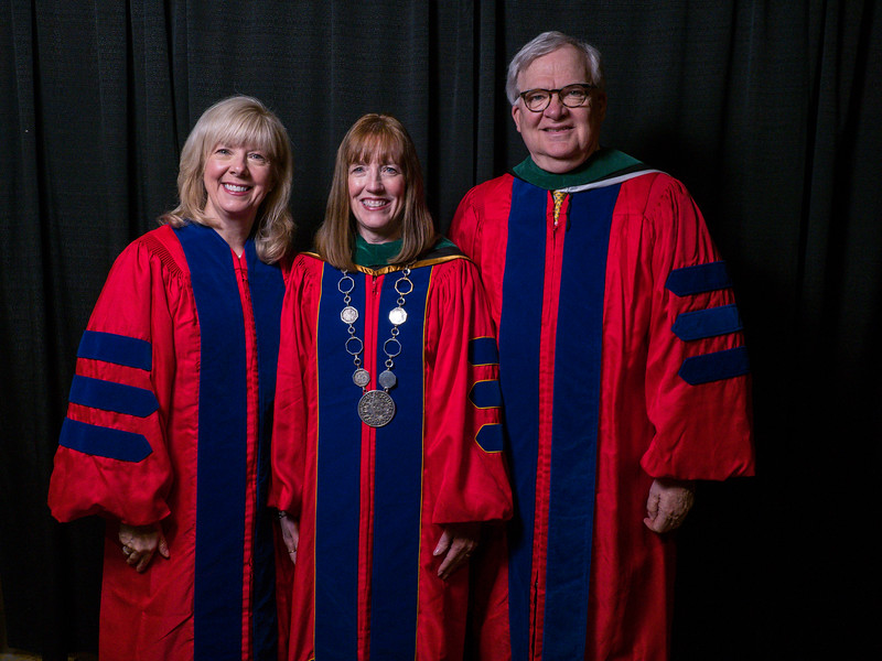 Cathy Gates, Mary Norine Walsh, William Oetgen during Convocation