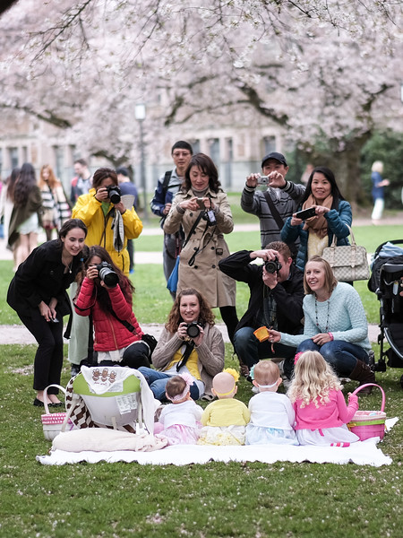 This was a funny moment, we were walking around the Quad and past this large group of paparazzis shooting a blanket full of cutie pies.  I only stopped for a few seconds but that was all it took for these nice folks to start snarling at me and shooing me away.