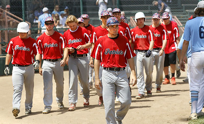 The Patriots in defeat after the final out is recorded by Ham Lake in the opening round of the state tournament.