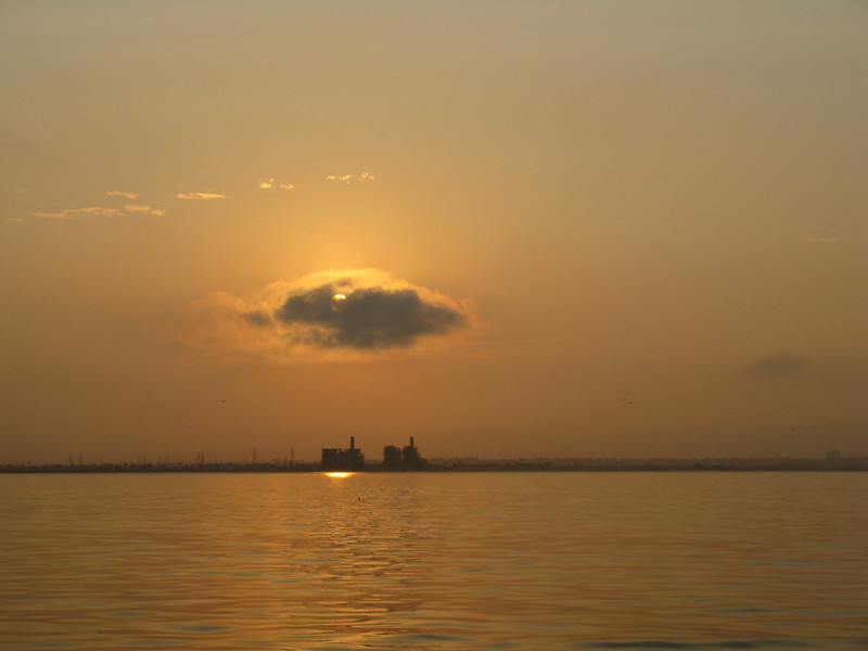 Sunrise off of Long Beach, California. Taken on July 12, 2008 with a Canon A720IS point and shoot.