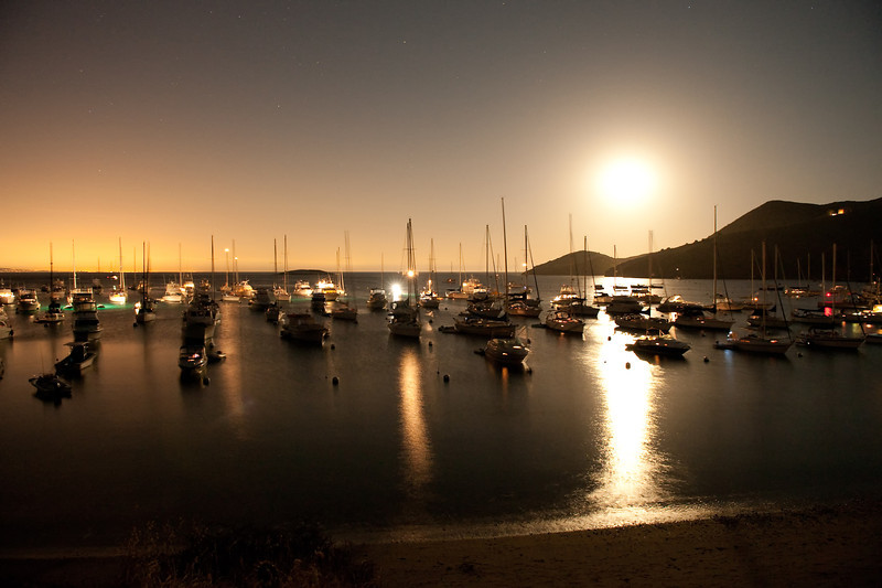 Moonrise at Isthmus Harbor, Catalina Island. Taken on Sept 24, 2010 with a Nikon D700.