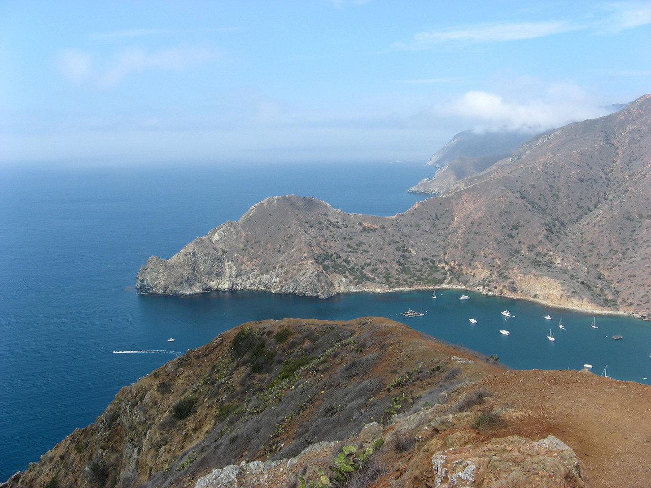 Looking towards the west end of Catalina Island, California from above Catalina Harbor. Taken on Aug. 25, 2007 with a Canon A700 point and shoot.