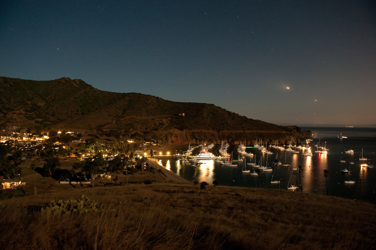 Isthmus Harbor, Catalina Island in the moonlight. Taken Sept. 24, 2010 with a Nikon D700.